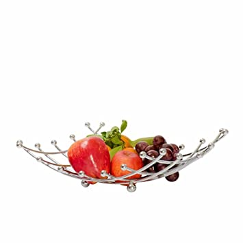 QJONKE Bandeja De Fruta Bandeja De Fruta Elegante Y Decorativa De Cromo Diseño De Rejilla Cuadrada Soporte De Tomate De Limón Bandejas De Almacenamiento De ...