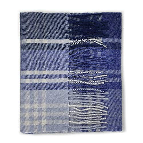 Kiltane of Scotland 100% Lambswool Ultra Soft Touch Tartan Scarf- Designed in Scotland (18043- Navy/Blue JK Check)