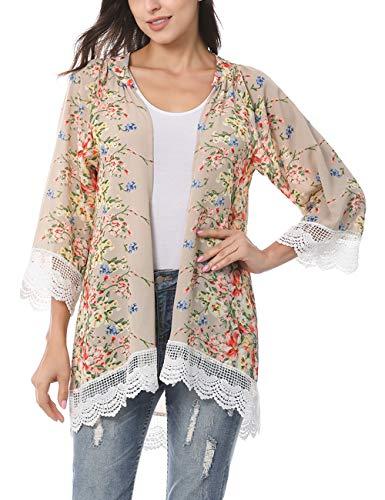 RJXDLT Womens Floral Print Kimono Cardigan Loose Puff Sleeve Cardigans Lace Patchwork Cover Up Blouse Top Khaki L 218
