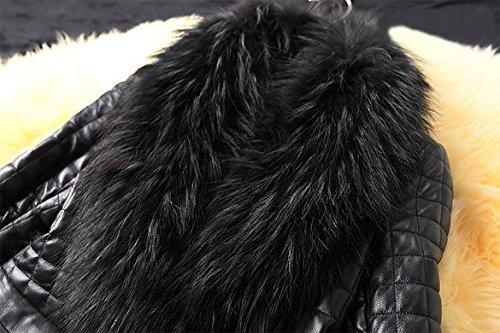 Piel de Cuero Invierno Lonlier Chaqueta Mujer Negro Larga Sintético Manga Abrigo wEYxfxF