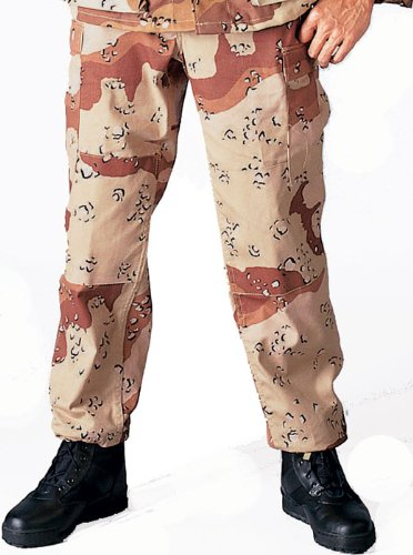 Camouflage Military BDU Pants, Army Cargo Fatigues (Desert Camouflage, Size ()