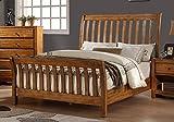 1PerfectChoice Master Bedroom California King Bed Fence Headboard Footboard Wood in Rustic Oak Wood