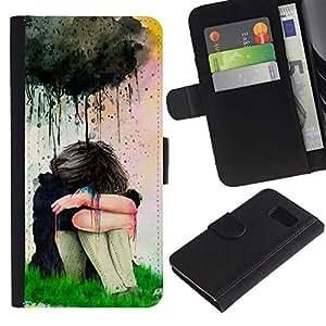 TaiTech / - Pintura de la acuarela de la muchacha triste - Samsung Galaxy S6