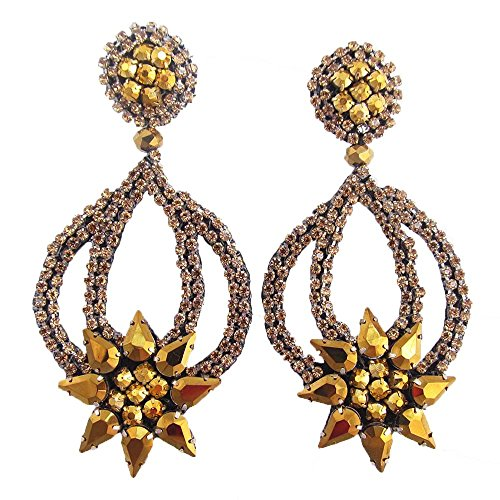 Brown Artificial Shade (HANDMADE ARTIFICIAL JEWELRY SPARKLING GOLDEN BROWN STONE BEADED DANGLE HOOP EARRINGS E-58-SB-50)