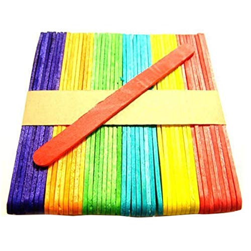 Beautiful Craft - 250x Coloured Lolly Sticks Jumbo Large Wooden Lollipop Craft Wax Beauty - Wood Home Filigree Tool Making Cake Jewelry Round Cutter Mooncake Mold Kit Wood Mold Set Mid Mol ()