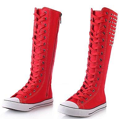 RTRY CN43 Noche Botas Rojo Botas De Zapatos Mujer 5 Altas Rodilla Negro EU42 Otoño US10 5 Moda amp;Amp; Botas Remache Parte Casual Lienzo UK8 Blanco Enredaderas Invierno rFr0TwqR