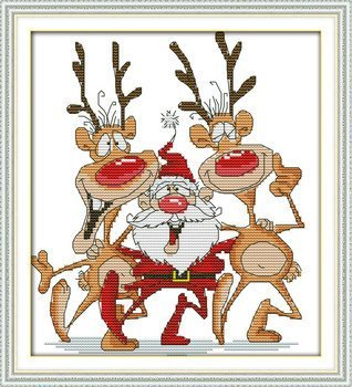 "Joy Sunday Cross Stitch kits, Santa and the reindeer,11CT Printed, 33cm×36 or 12.87""×14.04"""