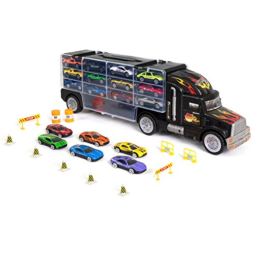 Kids 2-Sided Transport Car Carrier Semi Truck Toy With 18 Cars And 28 - Chart Dimensions Sunglasses