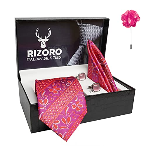 Rizoro Mens Plaid Pasiley Silk Necktie Gift Set With Pocket Square Cufflinks & Brooch Pin Formal Tie With Leatherite Box (AS1RX Free Size)