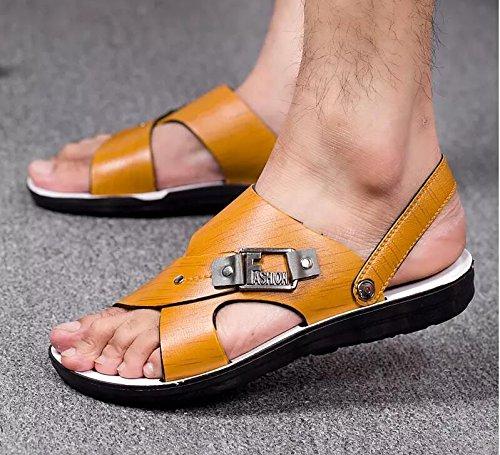 Xing Lin Flip Flop De La Playa Nuevo Hombre De Sandalias De Playa De Doble Uso Zapatos Verano Hombres Transpirable Zapatos Casual Zapatillas Sandalias Zapatos Marea De Hombres 835 light brown
