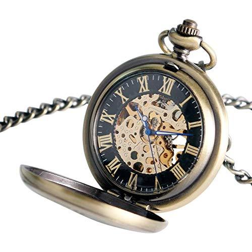 ZJZ Vintage fickur för män kvinnor vänner äldre hand slingrande mekanisk vintage fickur vintage presenter