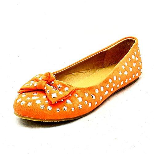 Mädchen-Orange mit Schleifendetail flache Fauxveloursleder Schuhe besetzt Orange