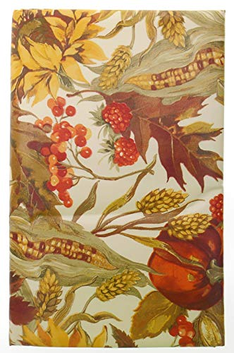 Bountiful Harvest Sunflowers, Indian Corn and Pumpkin Fall Vinyl Tablecloth with Flannel Backing. Fall Vinyl Tablecloth (52