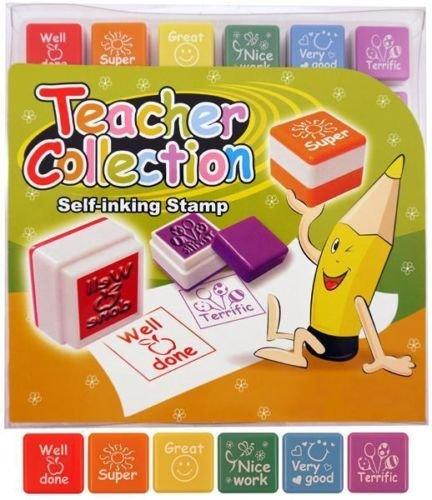 Timbri autoinchiostranti insegnanti, 6 pezzi, per bambini, ideali per scuole, asili nido, insegnamento (in lingua inglese) Guilty Gadgets