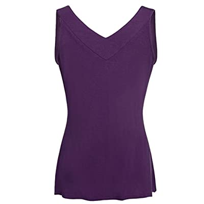 FENZL Women Comfy Solid Loose Sleeveless Tunic Top Pleated V Neck Tanks Vest Summer (M, Purple): Home & Kitchen
