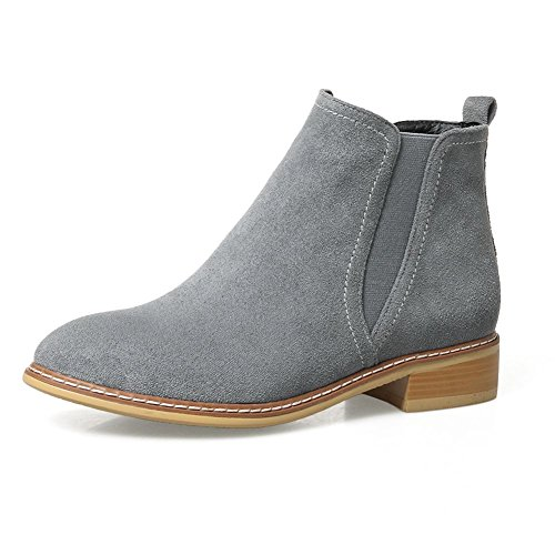KingRover Women's Booties Comfortable Chunky Heel Round Toe Suede Ankle Boots y4sqIQE