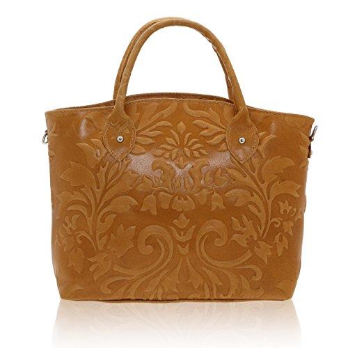 Cm Sac femme cuir Chicca Borse Italy véritable Made bronzage à in main 35 28 11 x en x naxIS5Axf