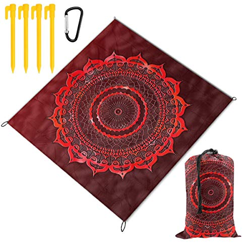 Rachel Dora Outdoor Waterproof Camping Blankets Lightweight Oversized Sandproof Durable Beach Mat for Picnic,Travel,Yoga,Hiking,Red Lace Mandala Printing Blanket with Pockets 78 x 57 inch