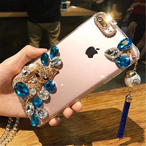 Galaxy J8 2018 Crystal Diamond Case, 3D Handmade Pearl Tassel Luxury Fox Head Sparkle Crystal Rhinestone Diamond Glitter Bling TPU Silicone Case for Samsung Galaxy J8 2018 (A000026)