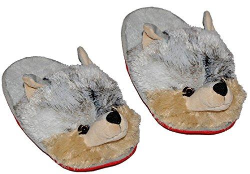 Slipper / Chinelo -. Tamanho Lobo Gr 39 40 41 42 Pelúcia Chinelo Animais Animal Crianças Adulto Animal Chinelos Muito Quentes Chinelos De Pelúcia