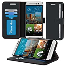 HTC M9 Case, roocase [Stand Feature] HTC One M9 Wallet Case [Prestige Folio] - Premium Soft PU Leather Wallet Case Flip Cover with Stand and Credit Card ID Holders for HTC One M9 (2015) Model - Black