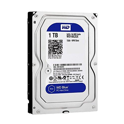 Western Digital(WD) BLUE Deskptop 1TB( 1Terabyte) 3.5''Hard Disk Drive, 5400~7200RPM, SATA3 ( 6.0GB/s), 64MB Cache, IDEAL for PC/Mac/CCTV/NAS/DVR/Raid and SATA Applications, 1YR Warranty (Blue)