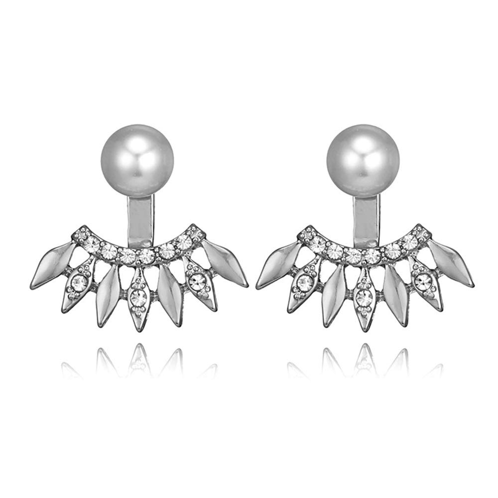 Cute Pearl Crystal Zircons Flower Front and Back Stud Earrings for Women and Girl