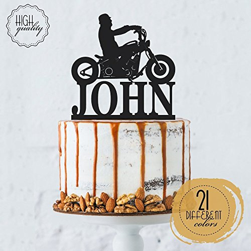 Biker Silhouette Chopper Motorcycle Personalized Cake Topper Birthday Cake Topper For Men Customized HD Biker   Solid Color Cake Toppers ,Party ()