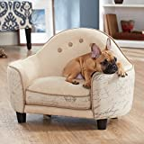 Enchanted Home Pet Ultra Plush Headboard Bed, 25.25 by 15.75 by 17.75-Inch, Cream