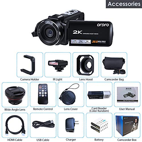 2K Night Vision Camcorders, Quad HD Infrared Night Vision Paranormal Investigation Video Camera WiFi 2K 30FPS 30MP Camcorder with IR Light Wide Angle Lens and Camera Holder - Ghost Hunting Camera