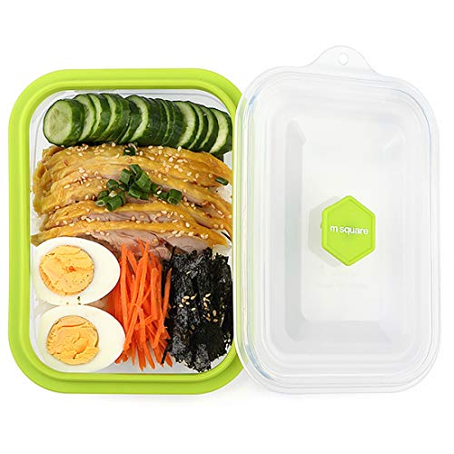 - M Square Collapsible Silicone Lunch Bento Box, 800ML Portable Food Storage Container Outdoor Picnic Box Space Saving, Microwave, Dishwasher and Freezer Safe (Green)
