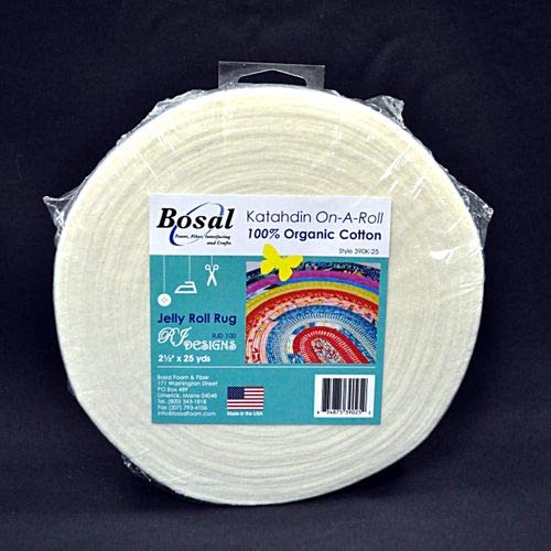 Batting - Bosal Katahdin On-A-Roll 2.5 Wide Pre-Cut Lightweight Jelly Roll Rug Batting 100% Organic Cotton - Sold by The 25 Yard Roll M224.05 Field' s Fabrics