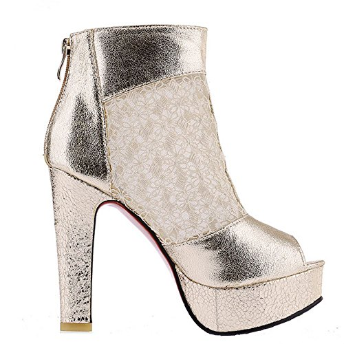 Forme TAOFFEN Plate Chunky Femmes Toe d'Été Chaussures Bottines Peep Gold w6Rxw8n4