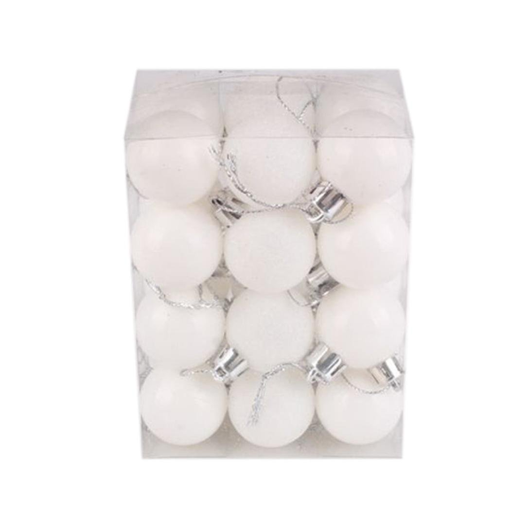 Sumen 24-Pack 30mm Christmas Tree Ball Bauble Hanging Home Party Decor (White)