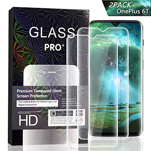 - JKPNK OnePlus 6T Screen Protector [2 Pack], Tempered Glass Screen Protector[Anti-Glare] Full Coverage HD Anti-Scratch [Bubble-Free] Screen Protector for OnePlus 6T
