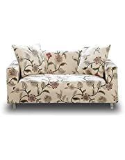 HOTNIU Stretch Sofa Covers Printed Couch Cover Elastic Sofa Slipcovers for 3 Cushion Couches Polyester Spandex Pattern Furniture Protector with 1 Free Pillow Case (3 Seat, Beige Flower)