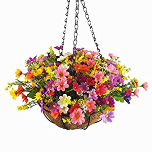 Mynse Set of Hanging Basket Artificial Daisy Flowers for Balcony Decoration,Colorful (A Small Basket and Flowers) 62
