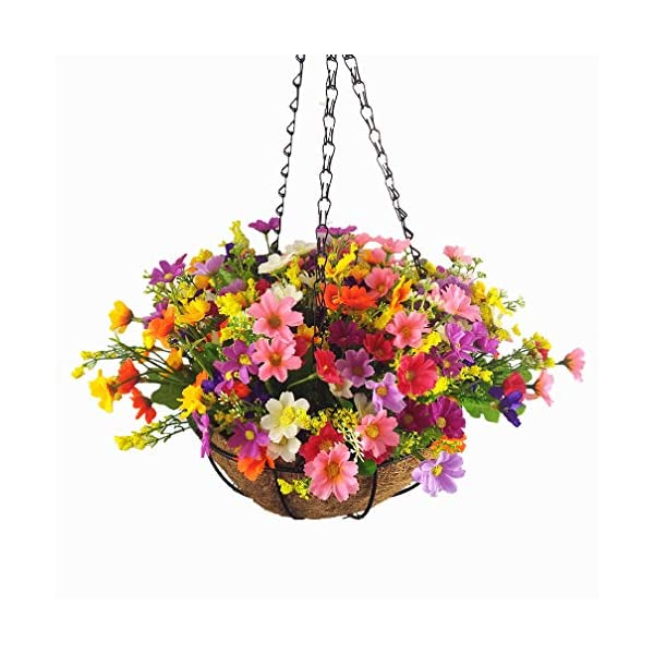 Mynse Set of Hanging Basket Artificial Daisy Flowers for Balcony Decoration,Colorful (A Small Basket and Flowers)