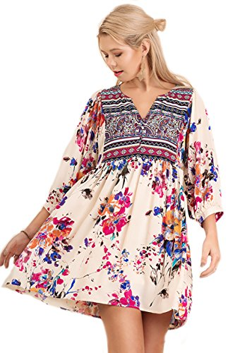 Boho-Chic Vacation & Fall Looks - Standard & Plus Size Styless - Oh Baby! Love this Babydoll Twin Print Dress