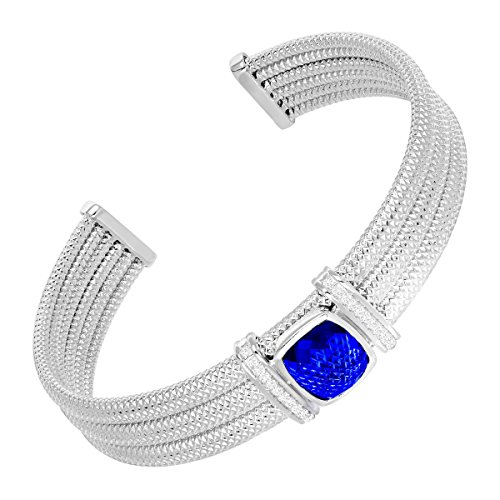 (4 3/5 ct Created Sapphire & 1/5 ct Diamond Cuff Bracelet in Sterling Silver)