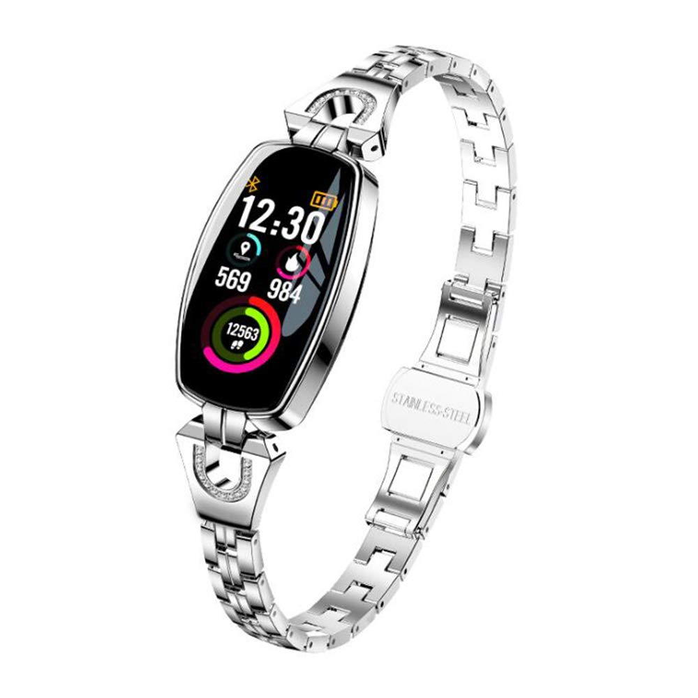 Smart Bracelet, Color HD Water Resistant, Heart Rate and Blood Pressure. Female Health Test, Long Wait, Information About Heart Rate,Silver