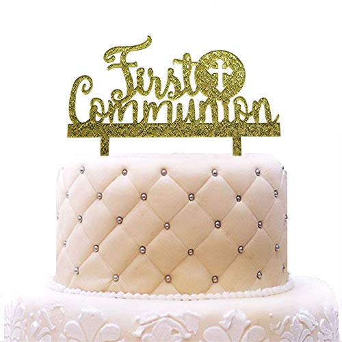 First Communion Cake Topper, Acrylic Baby Baptism Christening Religious Party Decorations - A Child of God - God Bless Cake Toppers Gold Glitter]()