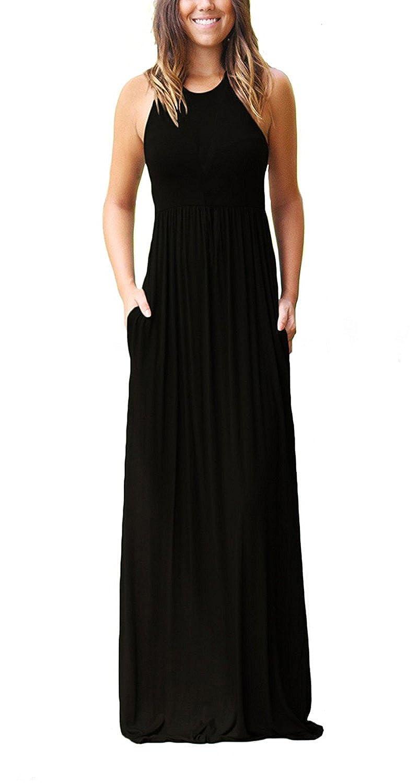 Black Roshop Women Sleeveless Loose Plain Long Maxi Casual Dress with Pockets