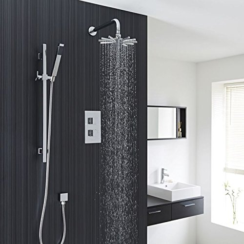 Smart Rail Spa - Hudson Reed Modern Chrome Finish Thermostatic Shower System With Kubix Twin Outlet, Cloudburst Style Shower Head, Slide Rail Kit And Handset