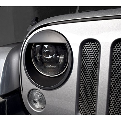 DIYTuning Angry Eyes Front Lights Trim Cover Headlight Bezels for Jeep Wrangler JK JKU Unlimited Rubicon Sahara Sport 2007-2017
