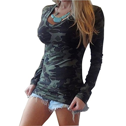 Creazy Women Long Sleeve V-neck Camouflage Printing Slim Casual T-shirt (L)