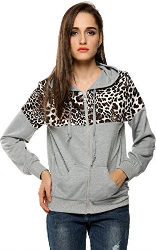 FINEJO Ladies Autumn Winter Jacket Hooded Sweater Coat Hooded Sweats Gray