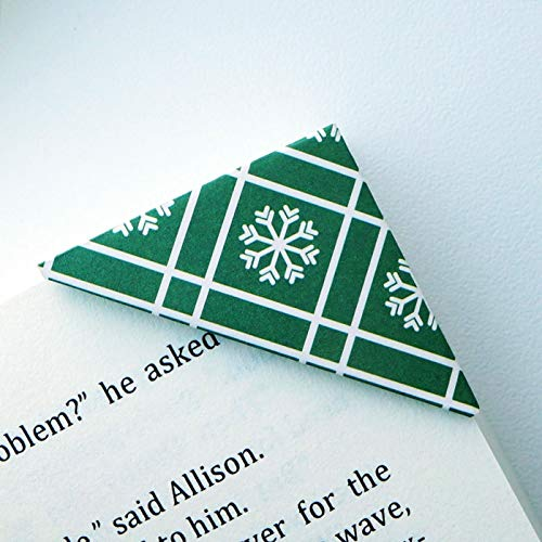 Set of 2 Bookmarks - Royal Green Cross Stripe Snowflake Bookmark