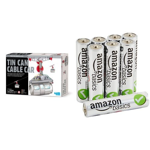 4M Tin Can Cable Car with AmazonBasics AAA Batteries Bundle