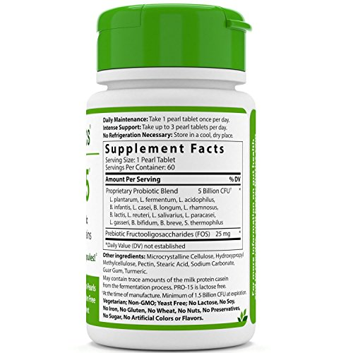 Hyperbiotics PRO-15 Probiotics - 60 Daily Time Release Pearls - 15x More Effective than Probiotic Capsules with Patented Delivery Technology - Easy to Swallow Probiotic Supplement